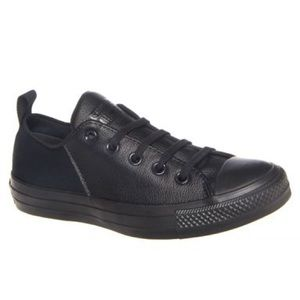 Black Leather Converse Chuck lows 7